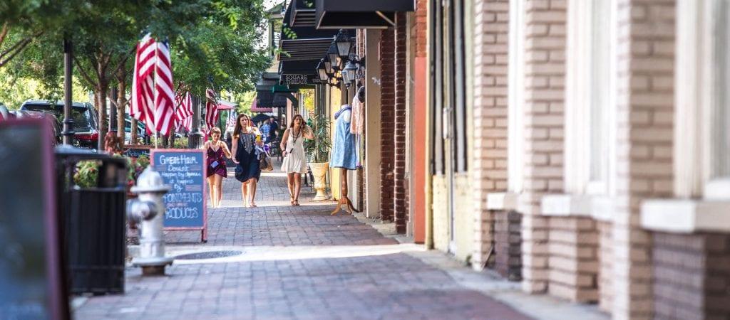 Girls shopping in a town